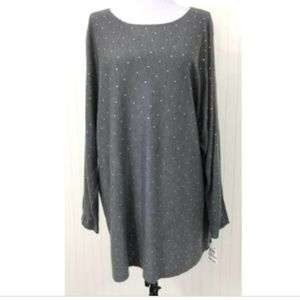 INC NWT 1X Sweater Blouse Crystal Embellishments